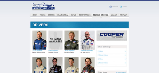 Listing of drivers that compete in the Prototype Lites series