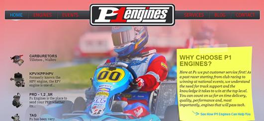 P1Engines.com homepage